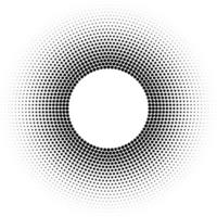 Halftone ring or torus vector pattern with black dots design element circle raster texture on white background