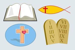 conjunto de iconos cristianos vector
