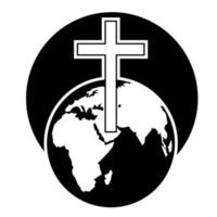 icono de globo de la cruz del mundo vector