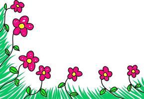 Doodle Floral Page Corner Border vector