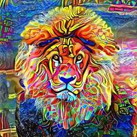 Abstract Lion Portrait Painting vector