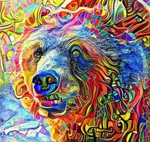 Abstract Grizzly Bear Portrait Painting vector