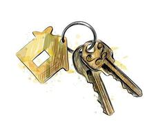 Bunch of keys with house shaped trinket from a splash of watercolor hand drawn sketch Vector illustration of paints