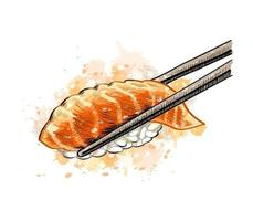 Gunkan sushi with salmon from a splash of watercolor hand drawn sketch Vector illustration of paints