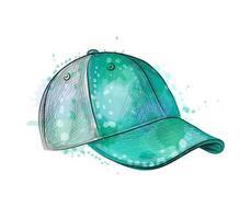 gorra de béisbol abstracta de un toque de acuarela dibujo dibujado a mano ilustración vectorial de pinturas vector