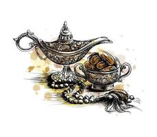 iftar fiesta celebración temas tradicionales la fiesta musulmana del mes sagrado de ramadan kareem boceto dibujado a mano ilustración vectorial vector
