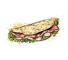 Taco mexican fast food Traditional tacos from a splash of watercolor hand drawn sketch Vector illustration of paints