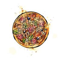 Pizza from a splash of watercolor hand drawn sketch Vector illustration of paints