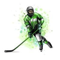 Abstract hockey player from splash of watercolors Hand drawn sketch Winter sport Vector illustration of paints