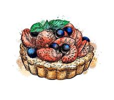 Cake with strawberries from a splash of watercolor hand drawn sketch Vector illustration of paints