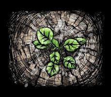 New growth from old concept Recycled tree stump growing a new sprout or seedling Aged old log with warm gray texture and rings Young tree with green leaves and tender shoots Vector illustration of paints
