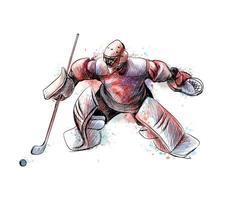 portero de hockey abstracto de salpicaduras de acuarelas boceto dibujado a mano deporte de invierno ilustración vectorial de pinturas vector