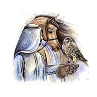 Hombre árabe con un halcón y un caballo de un toque de acuarela boceto dibujado a mano ilustración vectorial de pinturas vector