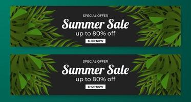 Basic summer sale offer banner promotion with green tropical leaves illustration concept vector