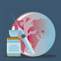 jeringa de vacuna y vial medicina planeta protección contra covid 19 vector
