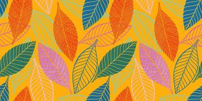 Bright funny pattern with abstract leaves vector