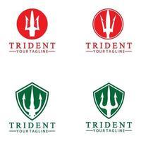 lanza tridente vintage de poseidón neptuno dios tritón rey diseño de logotipo vector