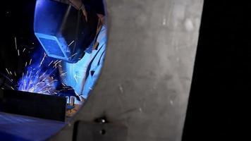 Industrial worker welding video