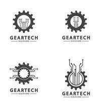 Tech gear logo vector design template