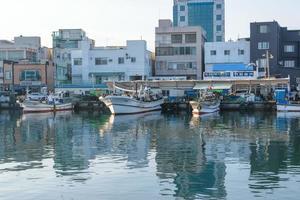Seoul, Korea 2016- Fishing boats docked at a fishing village in Korea photo