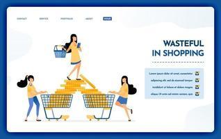 ilustración de la página de destino del despilfarro en las compras, consumismo vector