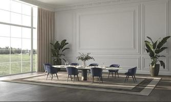 Luxury bright dining room with sun light and nature view background 3d render illustration beige interior design photo