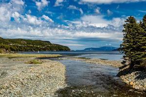 muchos arroyos encuentran su camino hacia el océano ruta 450 Terranova Canadá foto