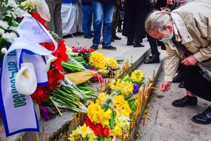 Tbilisi, Georgia 2021- Female person holds candle at the Tbilisi massacre tragedy anniversary demonstration photo