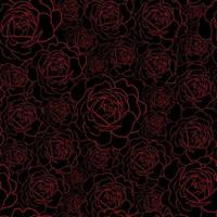 Seamless pattern with red rose flowers outline on the black background. Floral hand drawn ornament in sketch style. vector