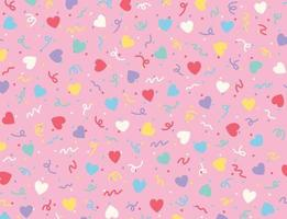 Hearts and zigzag lines are scattered freely. Simple pattern design template. vector