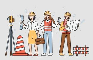 Female professionals working at the construction site. flat design style minimal vector illustration.