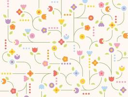 Cute flowers are connected to each other along the stem. Simple pattern design template. vector