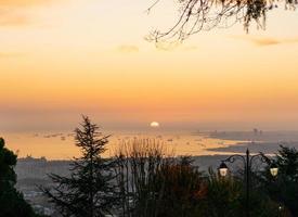 Istanbul sunset background photo