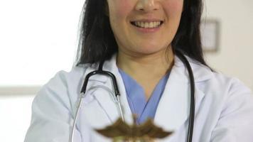 Doctor holding caduceus in hands video