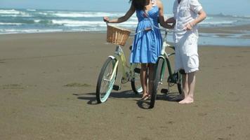 porträtt av par på stranden med cyklar video