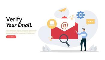 Man checking mail to verifying his email concept vector illustration