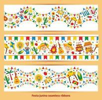 Seamless ribbon of festa Junina village festival vector