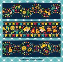 ribbon seamless of festa Junina village festival vector