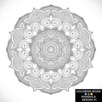 Mandala Round floral ornament isolated on white background Decorative design element Black and white outline vector illustration for coloring book print on Tshirt and other items