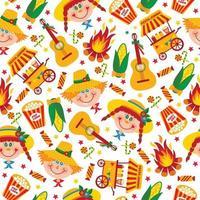 Seamless pattern of festa Junina village festival in Latin America vector
