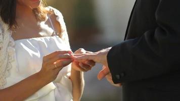 sposa e sposo agli anelli di scambio di nozze video
