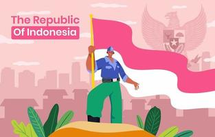 Man Holding Indonesia Flag vector