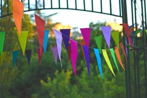 Colorful birthday flags hanging in the backyard photo