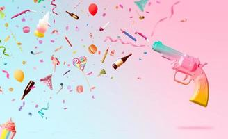 Party background with colorful gun shooting confetti streamers candles and decoration on pink background Creative party background with copy space photo