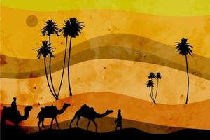 beautiful desert sunset abstract background landscape with arab passengers holding camels and abstract trees vector