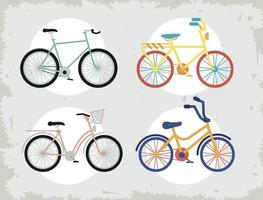 four bicycles icons vector