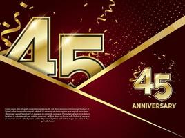 45 year Anniversary celebration. Golden number 45 with sparkling confetti. vector