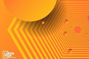 Abstract Orange Hexagon and Circle Geometric Background vector