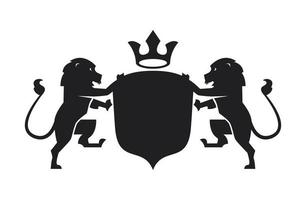 luxury emblem with lions vector