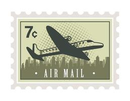airplane postage stamp vector
